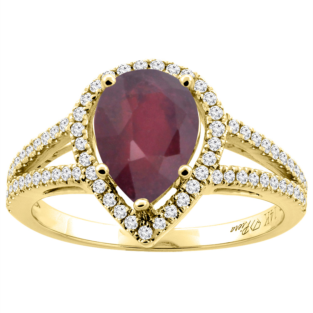 14K Yellow Gold Natural HQ Ruby Ring Pear Shape 9x7 mm Diamond Accents, size 5 by Gabriella Gold