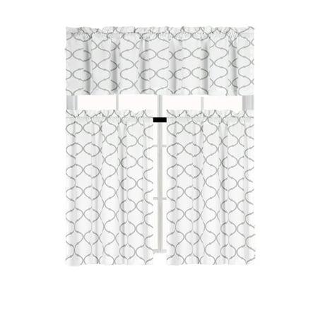 Gray Kitten (Shabby Lattice Cotton Blend Kitchen Curtain Tier & Valance Set -)