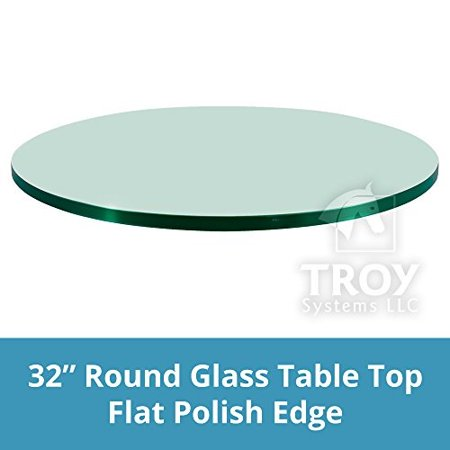 """round glass table top 32 inch custom annealed clear tempered, 1/4"""" thick glass with flat polished edge for dining table, coffee table, home & office use by troysys"""