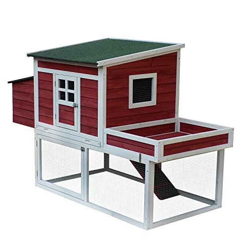 """Aosom Pawhut 68""""  Farmhouse Wooden Chicken Coop with Disp..."""