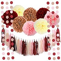 39pcs of Bachelorette Party Decorations Burgundy Glitter Rose Gold Blush Pink Ivory Tissue Paper Flowers Tassel Garland Wedding Bridal Shower Maroon Party Decorations