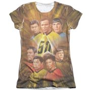 Star Trek 50Th Anniversary Crew (Front Back Print) Juniors Sublimation Shirt