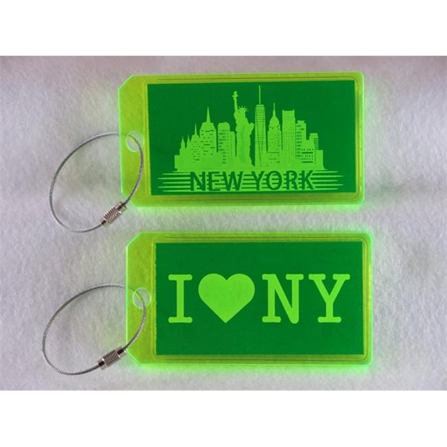 Destinations Neon Acrylic I. D.  Tag - New York  Green -pack of 2