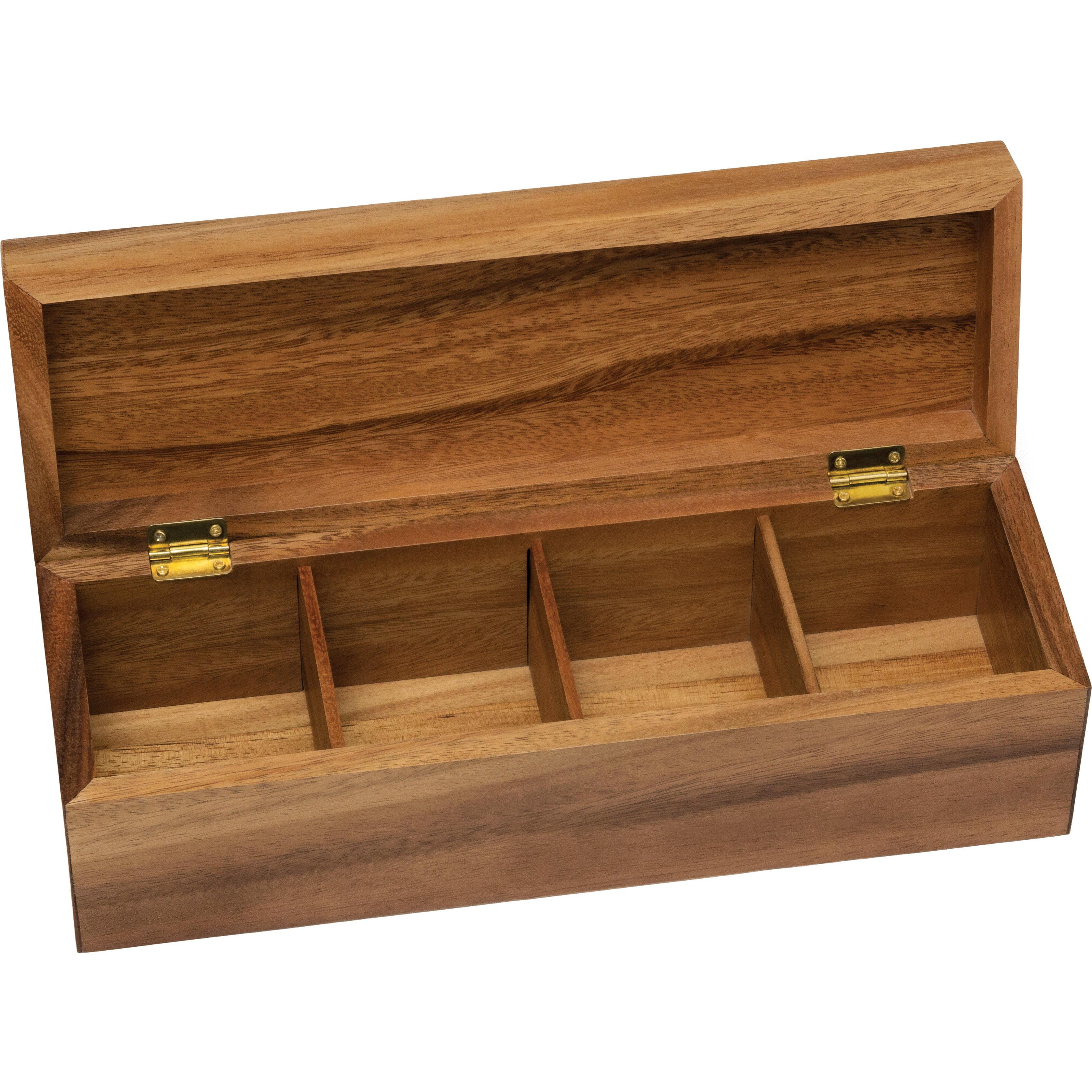 Lipper International Acacia Tea Box, 4-Section