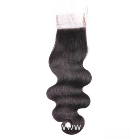 """7A Grade Body Wave Lace Closure Peruvian Virgin Hair Free Shipping Lace Closure Bleached Knot Free Middle 3 Side Part Closure, 16"""""""