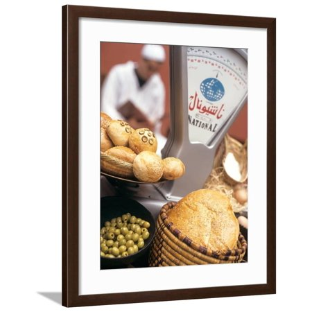 Bread, Rolls and Olives in a Moroccan Shop Framed Print Wall Art By Jean Cazals (Cazal Shop)