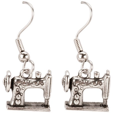 Cedar Creek Quilt Designs Charming Accents French Wire Earrings, Sewing Machine