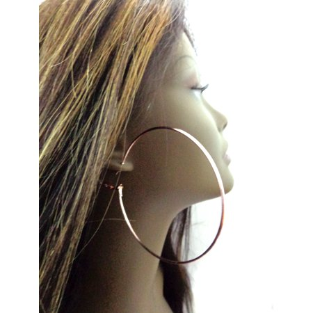 Large Rose Gold Hoop Earrings Simple thin Copper Plated 3 inch Hoops