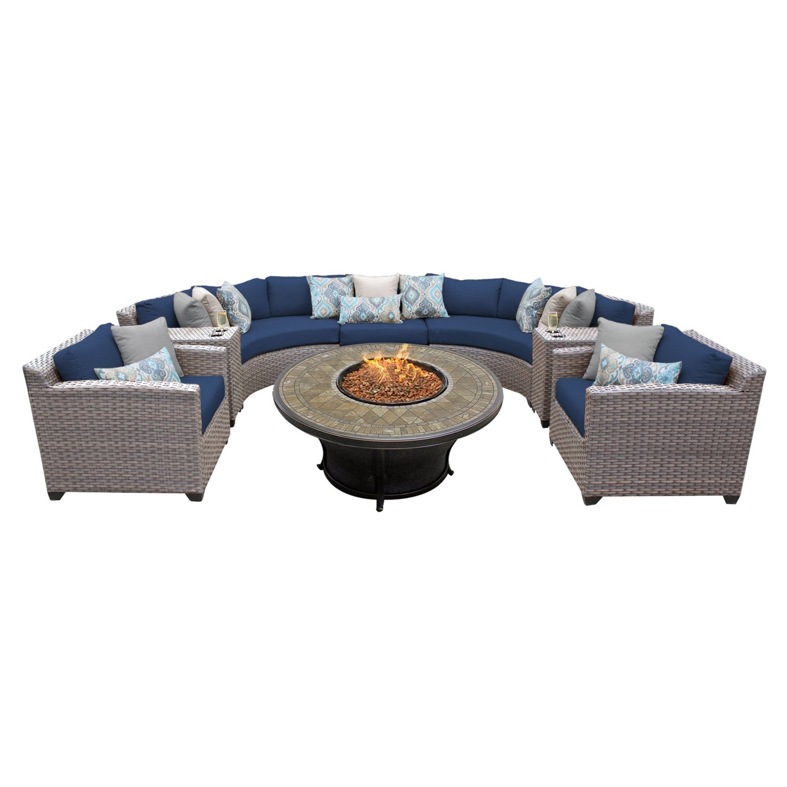 TK Classics Florence Wicker 8 Piece Patio Conversation Set with Fire Pit Table and 2 Sets of Cushion Covers