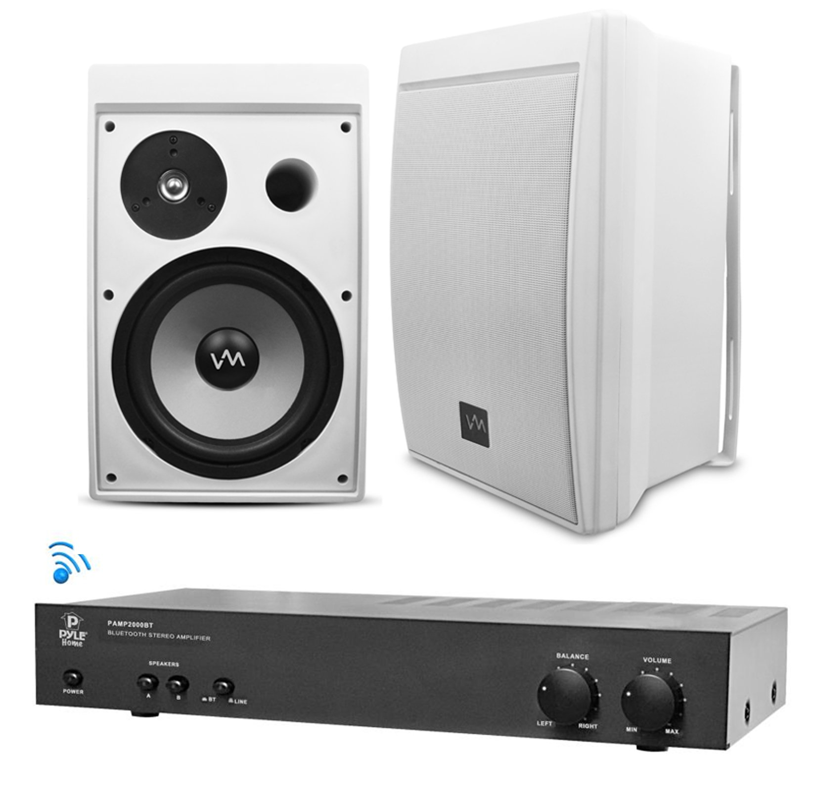 "Bluetooth Outdoor PA Speakers 2) VM Audio 8"" Speakers + Pyle 2000BT Amplifier by Pyle"
