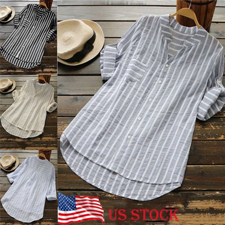 Womens Striped V Neck Baggy Blouse Ladies Casual Loose Tunic Tops Plus Size