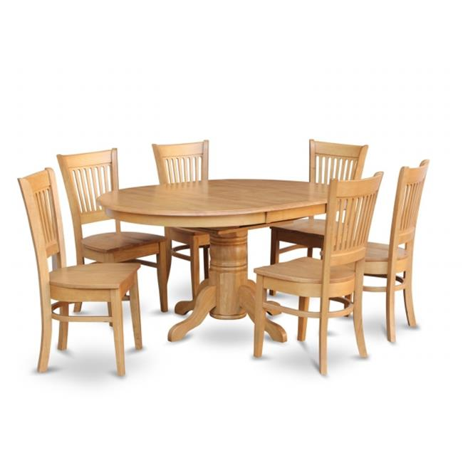 Wooden Imports Furniture AV7-OAK-W 7PC Avon Dining Table and 6 Wood Seat Chairs in Oak Finish