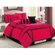 7-Pc Gabbi Ruffled Ruched Patchwork Striped Comforter Set Hot Pink Fuchsia Black Queen