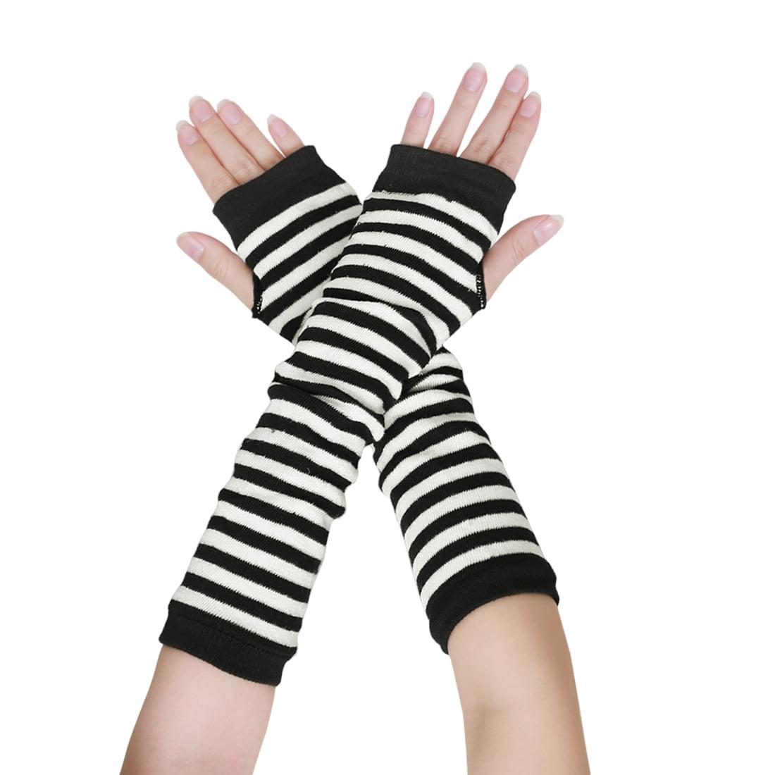 Tasharina Women's Knitted Thumb Hole Stripes Arm Warmer Fingerless Gloves Pair Black