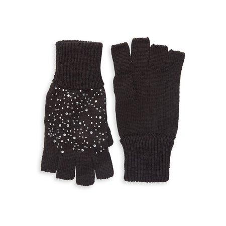 Embellished Knit Fingerless Gloves