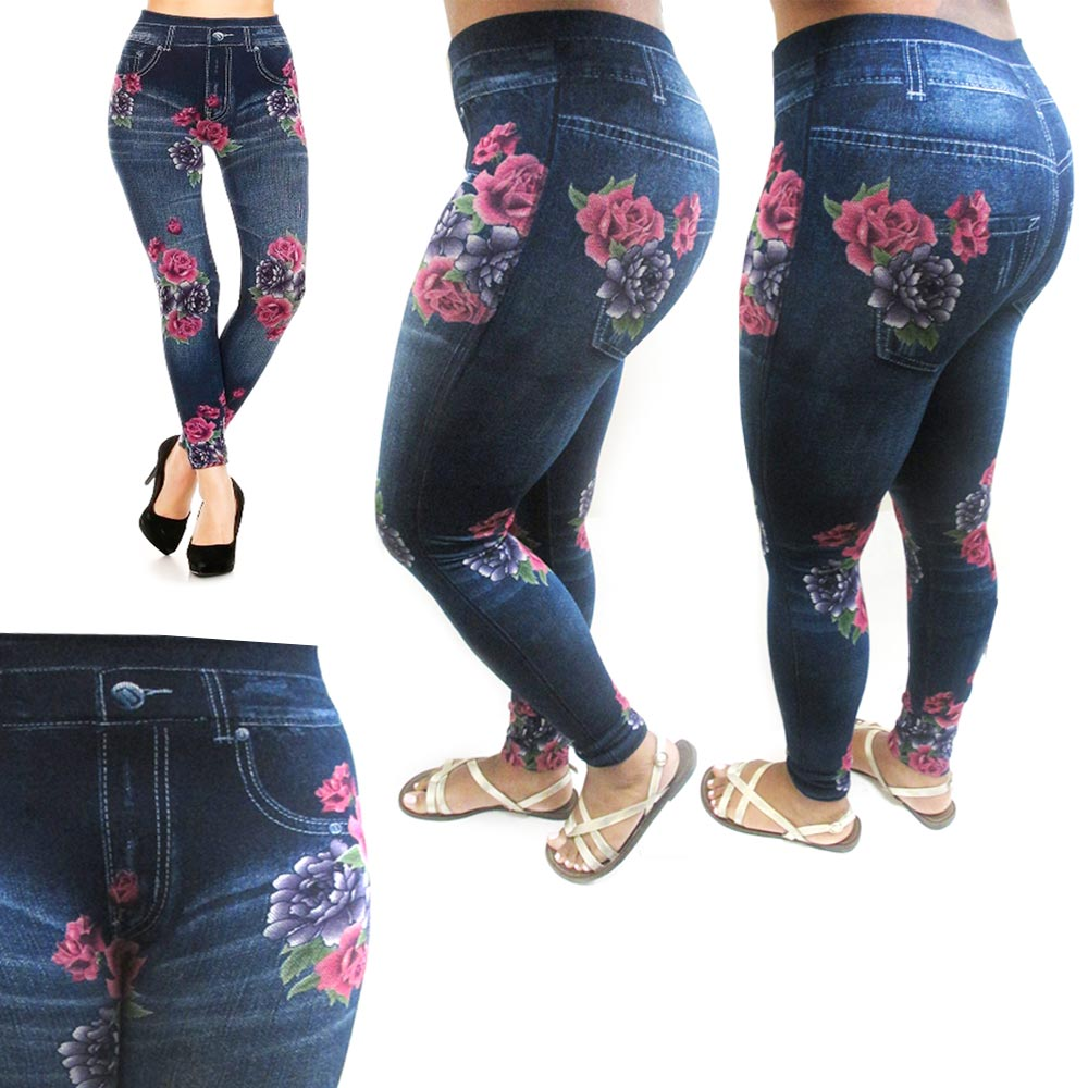 Jeggings Fashion Jeans Look Rose Printed Leggings Womens Pants Stretch Skinny