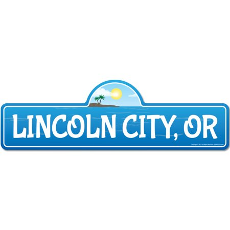 Lincoln City, OR Oregon Beach Street Sign | Indoor/Outdoor | Surfer, Ocean Lover, Décor For Beach House, Garages, Living Rooms, Bedroom | Signmission Personalized (Lincoln City Oregon Mall)