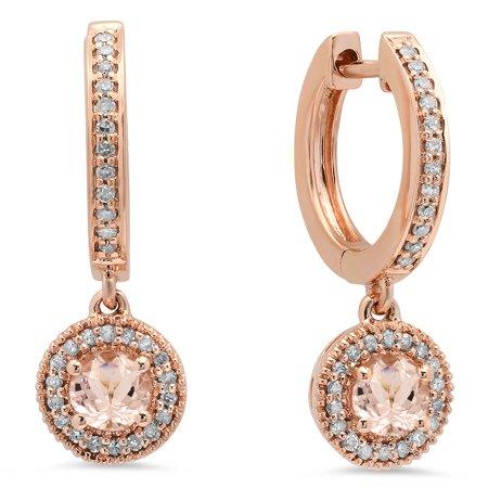 10K Rose Gold Ladies Halo Style Dangling Drop Earrings