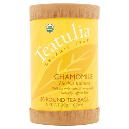 Teatulia Camomille Tisane thés bio, 30 sachets de thé ronds, 1,05 oz, 6 pack