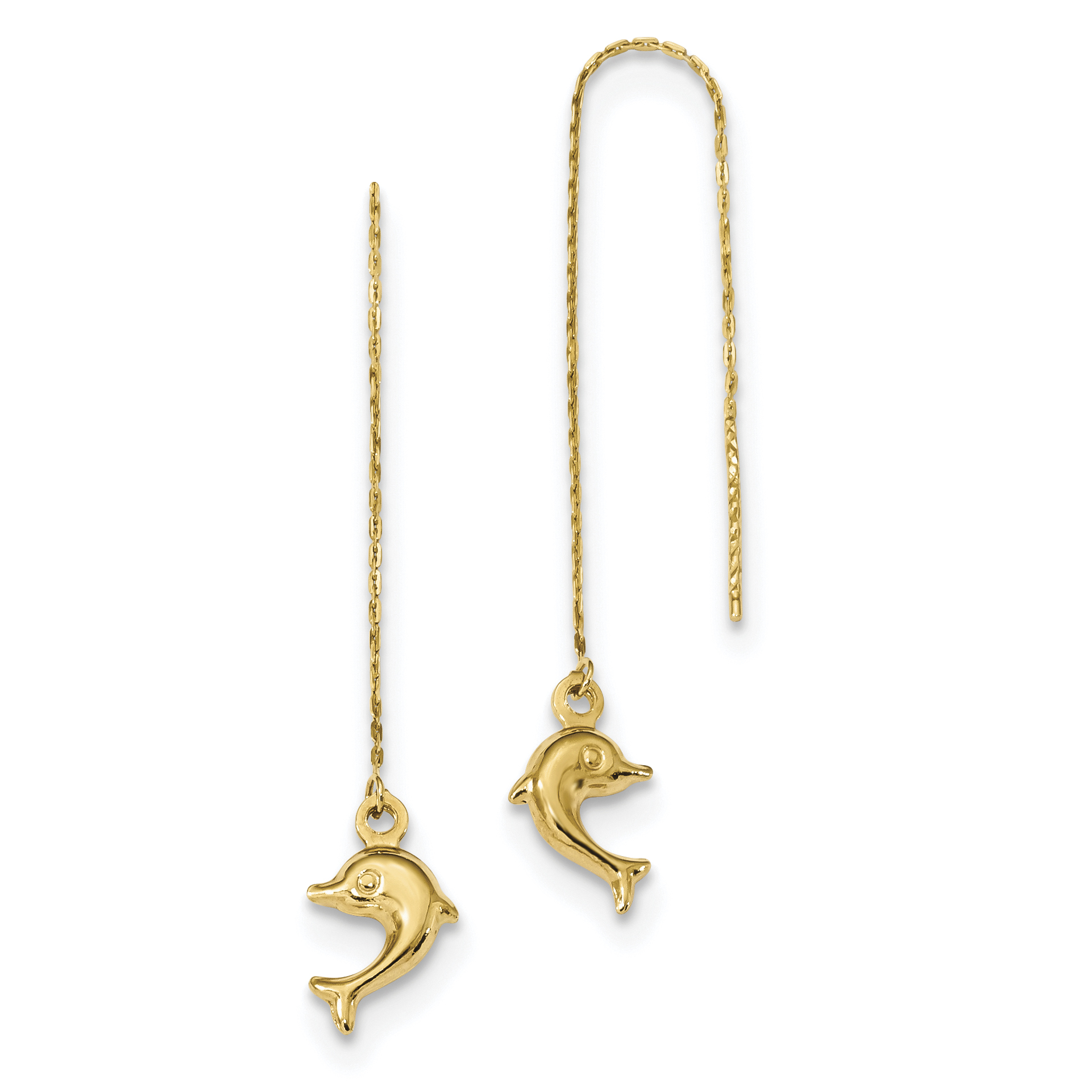 14k Polished Dolphins Threader Earrings TC997 - image 2 of 2