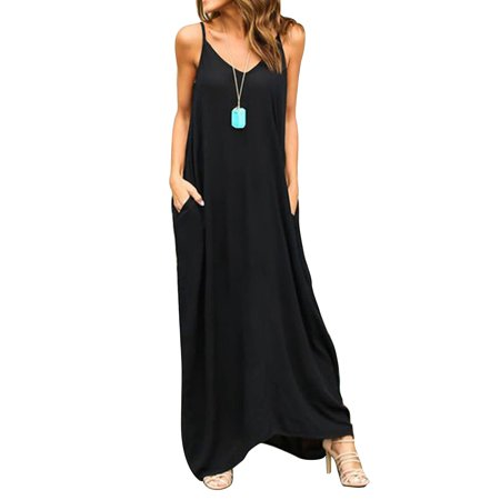 Women Hippie Boho Summer Sleeveless Loose Long Maxi Casual Party Strappy Dress Baggy V-neck Beach Sundress+Two Pockets - Hippie Woman