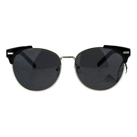 Retro Vintage Style Half Rim Horned Tip Hipster Mens Sunglasses (Hipster Style Mens)