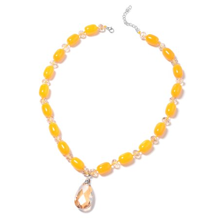 Amber Bead Necklace (Cubic Zircon CZ Iron Pear Champagne Glass Beads Necklace for Women 28