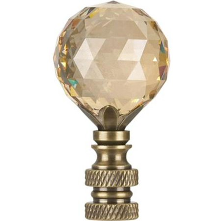 Swarovski Faceted Champagne Crystal Ball Finial Antique Brass 2.25