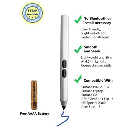 Mini Smartpen Surface Stylus with 1024 Levels of Pressure Sensitivity Pen Aluminum Body, Laptop Stylus Pen 2019 Microsoft Surface Pro,Surface Pro 5, Surface Pro 4, with AAAA Battery Included -