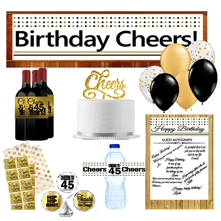 45th Birthday Party DecorationsDecoraitons Kit w. Banner Water Bottle Labels Hershey's Stickers Balloons Cake Decoration Topper Guest Autograph Poster Thanks Stickers