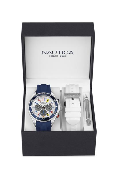 NAUTICA MEN'S WATCH NST 12 FLAGS BOX SET 45MM by Nautica