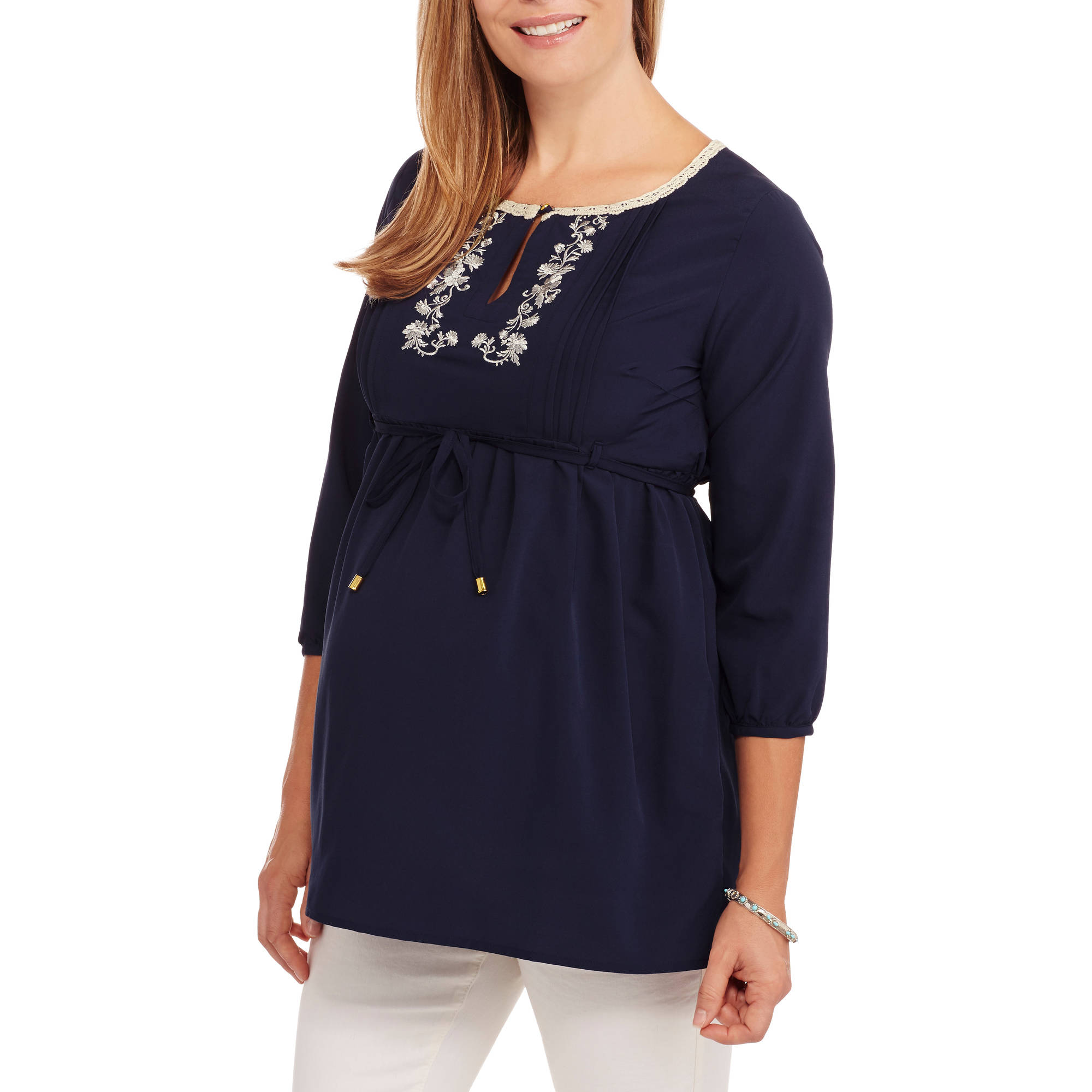 Oh! Mamma Maternity 3/4 Sleeve Embroidered Neck Shirt