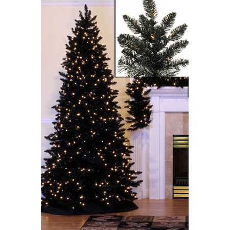 14' Pre-Lit Slim Black Ashley Spruce Artificial Christmas ...