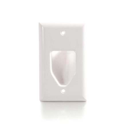 - C2G Recessed Low Voltage Cable Pass Through Single Gang Wall Plate - White
