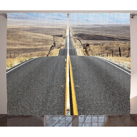 Americana Landscape Decor Curtains 2 Panels Set, Pacific Coast Highway on the Road Trip to Endless Desert Western Photo , Window Drapes for Living Room Bedroom, 108W X 90L Inches, Grey, by