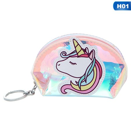KABOER 4 Colors Cute Cartoon Unicorn Semi-circular Transparent Laser Wallet Small Coin Purse Small Zipper Pouch