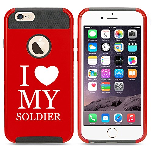 For Apple iPhone 7 Shockproof Impact Hard Soft Case Cover I Love My Soldier (Red)
