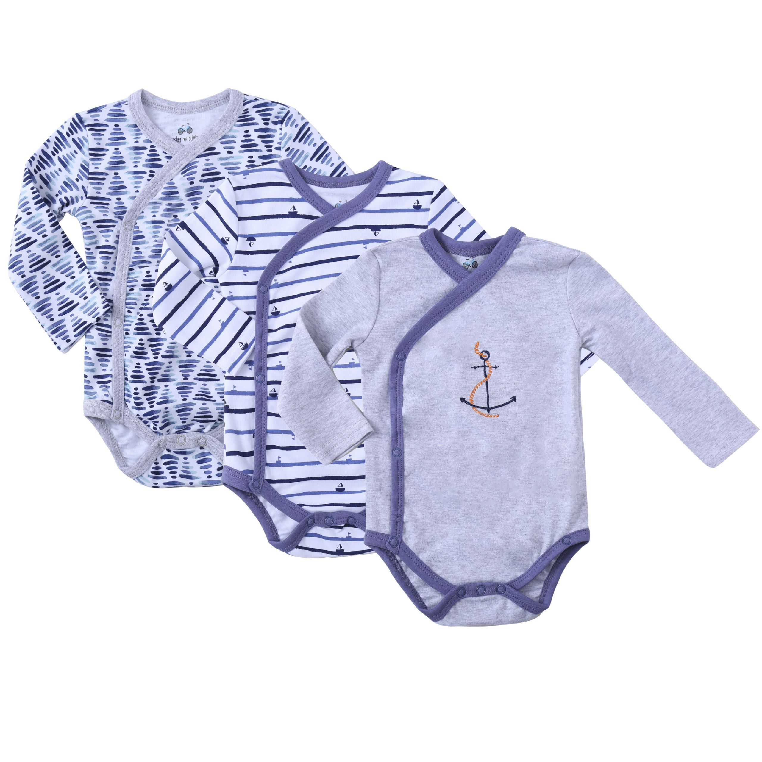 Clothes Baby Kimono Side Snap Onesies Boy Long Sleeve Bodysuit Blue