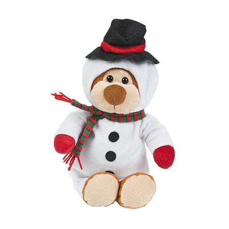 Fun Express - Snowman Plush Bear for Christmas - Toys - Plush - Stuffed Bears - Christmas - 1 Piece
