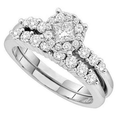 1.05 Carat (ctw) 14K Gold Round & Princess Cut White Diamond Soliel Style Engagement Ring Set 1 - 14k Princess Nose Screw