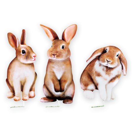 Set of 3 Realistic Bunny Metal Yard Art Stakes Spring Garden Décor