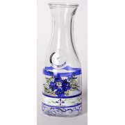 Blue Floral Hand Painted Frosted Glass Serving Carafe 34 Ounces