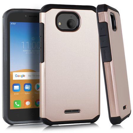 For Alcatel Tetra 5041C - Wydan Slim Hybrid Shockproof Hard TPU Protective  Rubber Phone Cover - Rose Gold on Black