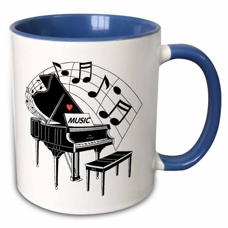 3dRose Black Piano with Dancing Notes n Love Music on It - Two Tone Blue Mug, 11-ounce (N Tone)