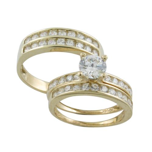 New Gold Jewelry 10k Gold Round-cut Cubic Zirconia His and Hers Bridal-style Ring Set