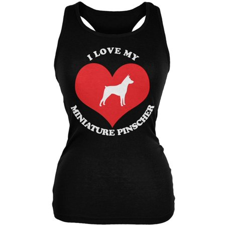 Valentines I Love My Miniature Pinscher Black Juniors Soft Tank (Woman Black Miniature)