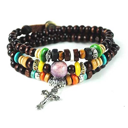 Wood Wrap Bracelet - Wood Bead Cross Wrap Bracelet Christian Religious Inspirational Beaded
