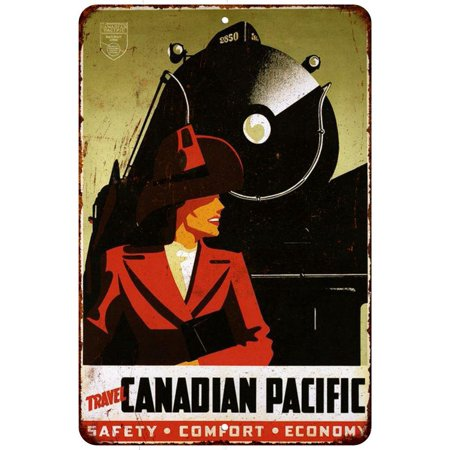 Travel Canadian Pacific Vintage Look Reproduction Metal Sign 8 X 12 8120190