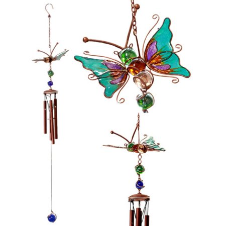 Ebros Gift Stained Glass Flitting Butterfly Copper Metal Wind Chime 28