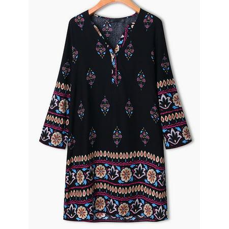 Womens Casual Floral Printed Rayon Mini Dress Loose Long Tops - image 1 de 9